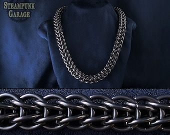 "Titanium Foxtail Chain - Chainmaille Torc - PURE ""black glass"" titanium! - Semi-Rigid Viking Style Lightweight Torque Necklace - FullPersian"
