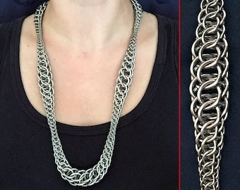 Graduated Syringa Necklace - Advanced Chainmaille Weave - Stainless Steel