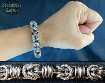 Orbital Byzantine - Stainless steel chainmaille bracelet - 14swg and 16swg Etruscan chain with Snakeskin Links