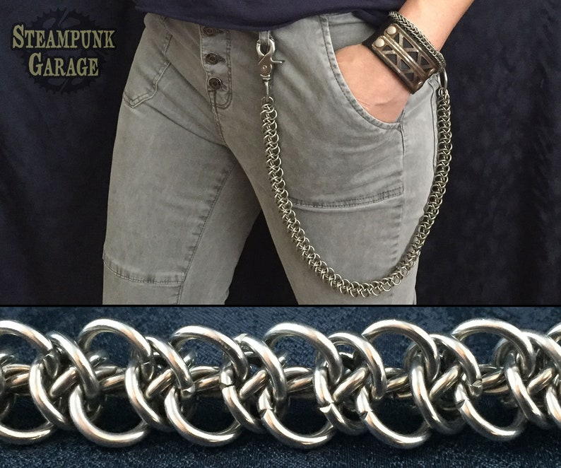 Triangle Triffids Weave  OOAK Stainless Steel Wallet Chain  image 0