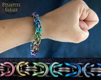 Square Ti Byzantine - Classic Chainmaille Bracelet - Kings Chain - Etruscan Chain - Pure Titanium!