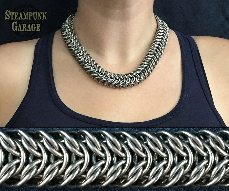 Elf Viaduct Weave  Chainmaille collar  Stainless Steel or image 0