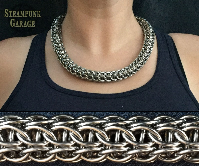 Captive Hilt Chain  Chainmaille Torc  Stainless Steel or image 0