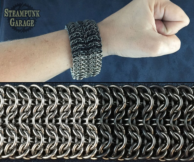 B/W Steel or Titanium IW4 Cuff  Mens TOUGH Metal Chainmaille image 0