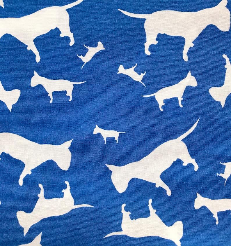 Rot rosa blau lila englisch Bull Terrier EBT Hund Silhouette ZukieStyle  Designer Baumwolle Stoff Fett Viertel Meter Quilten Nähen
