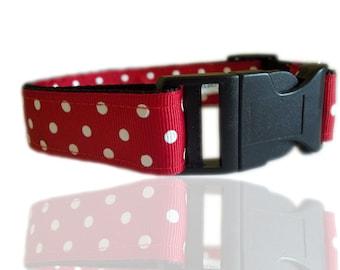 Red And White Polka Dot Adjustable Dog Collar