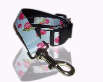 Vintage English Rose Afternoon Tea Adjustable Dog Collar