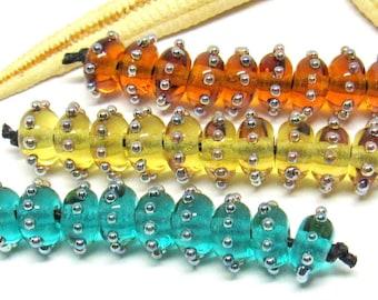 10 glassbeads, lampwork, muranoglass, 9x6mm, colorchoice, hole 2mm