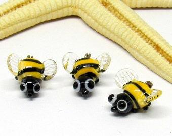 3 beads bees, lampwork, muranoglass, 10mm, ore 2mm, MTO