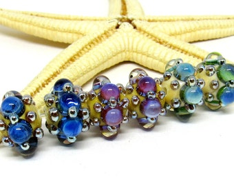 2 glass beads, pink-, green- or blue-beige, 14mm x 10mm, lampwork, hole 2mm, MTO