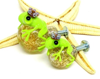 glass doorknob with frog, 18mm or 25mm diametre, incl. M4 nuts with screw, lampwork, muranoglass, MTO