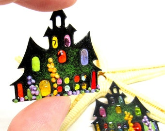 2 copper-elements enameled, haunted house, components for making jewelry, MTO