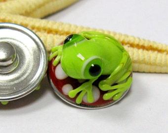 lampwork bead popper snap, muranoglass, red, white. green, frog, 18mm, MTO