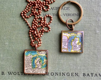 Map Pendant Custom Order Option:  You Name Your City or Hometown, In Silver Pewter, Gold or Copper, Large Square