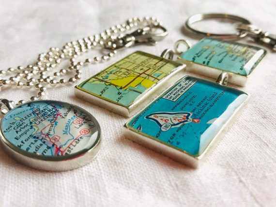 Ludington KeyChain.Michigan Map Handmade Gifts.