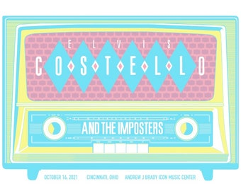 Official Elvis Costello and the Imposters Cincinnati 2021 Screen Printed Concert Poster Artist Edition