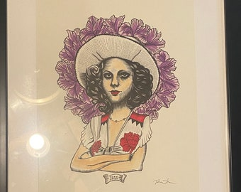 """Iris original ink drawing one-of-a-kind framed """"Taxi Driver"""""""