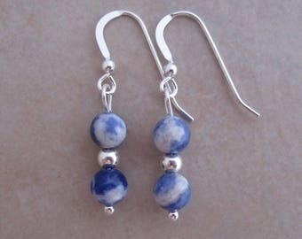 blue sodalite earrings sterling silver dangle white