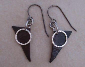 moonlight earrings oxidized copper sterling silver steel dangle