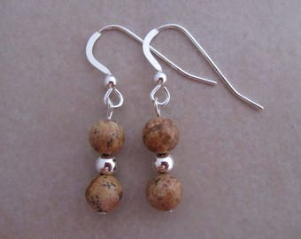 brown picture jasper earrings sterling silver