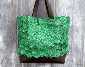 Leather Tote Bag with Green Flowers by Stacy Leigh - Large -  All Leather Bag