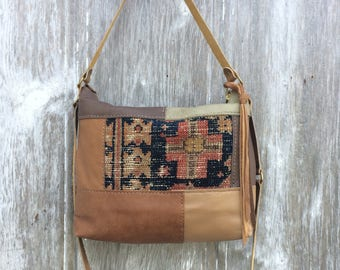 Leather Patchwork Carpetbag Shoulder Bag with 2 Straps by Stacy Leigh