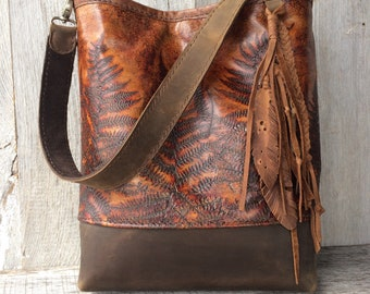 Leather Shoulder Bag Hand Stitched in Woodland Leather with Embossed Ferns - Bucket Bag - with Leather Feather Embellishment by Stacy Leigh