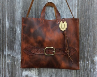 8e5325a32bf0 Leather Tote Bag w  Shoulder Strap - Large Handmade Leather Purse - in  Autumn Harvest - Vintage Tooled - Brass Cow Tag - OOAK by Stacy Leigh