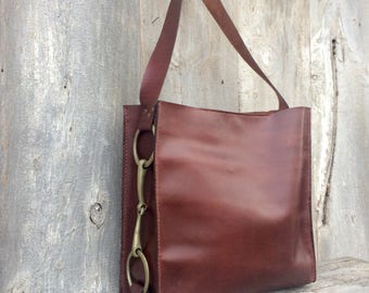 Leather Shoulder Bag with English Horse Bit - Handmade - Oxblood - Dark Cognac - Smooth Distressed Leather - Equestrian Bag - by Stacy Leigh