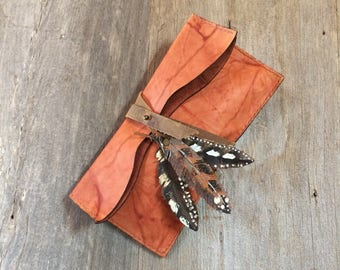 Leather Clutch Small Size, Marbled Copper Leather, Fold Over, with Hand Painted Leather Feathers, Hand Stitched, Rustic Bag , by Stacy Leigh