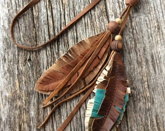 Leather Feather Necklace with Vintage Wooden Beads in Distressed Brown, Taupe Brown,  Turquoise and Olive by Stacy Leigh