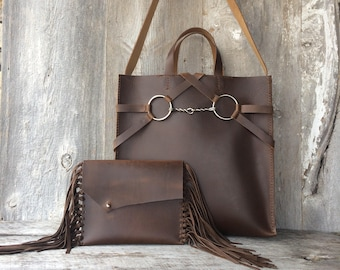 Leather Equestrian Bag in Chocolate Brown Distressed Leather - Gift for Her - Horse Lover - Horse  Bit Bag by Stacy Leigh