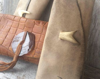 Small Leather Clutch Bag in Distressed Soft Taupe Cowhide with Deer Antler Fork - Rustic - Natural - Handbag - Gift for Her - by Stacy Leigh