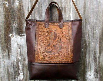 Woodpecker Bag made with Vintage Tooled Leather by Stacy Leigh