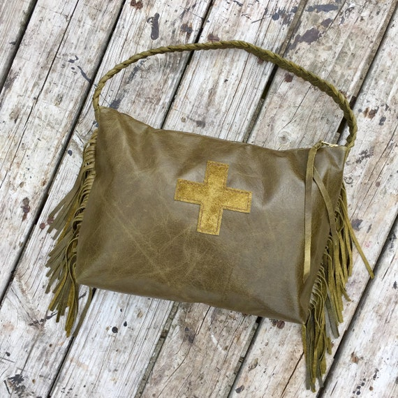 0a2ab9717e6b Leather Swiss Army Cross Shoulder Bag in Olive Green
