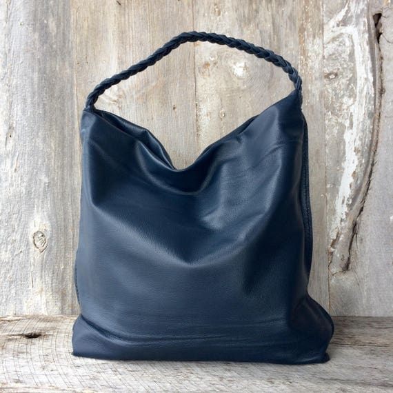 ad6bf40ef6bf Large Leather Bag in Navy Blue Cowhide Soft Slouchy Hobo Bag