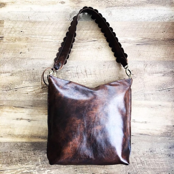 cd6152ed837c Leather Hobo Bag in Rustic Hand Stained Leather with Hand