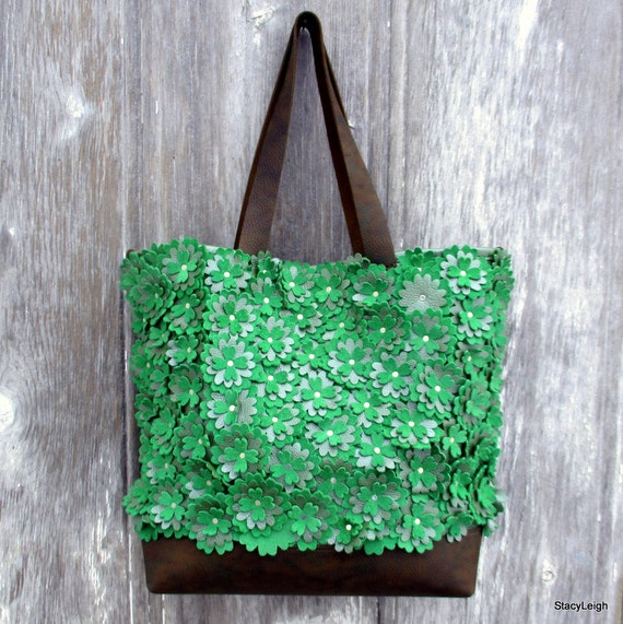 0f5d3e91e55a Leather Tote Bag with Green Flowers by Stacy Leigh Large