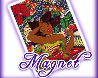 MAGNET -  ANKARA AMERICANA bLACK jOy bLACK mermaid Wakanda KarinsArt by karin turner