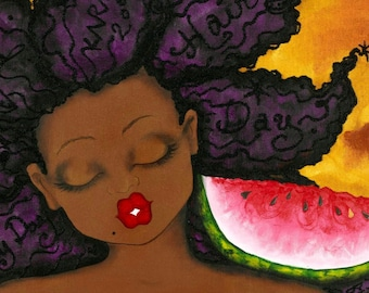 Print:11X14 16x20 20x30 Everyday is a Good Hair Day (#2)! Affirmation Natural Hair by karin turner KarinsArt  watermelon  african american