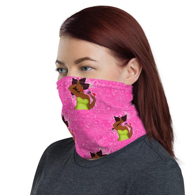 FACE MASK scarf PINKandGREEN karinsArt Neck Gaiter Unisex image 0