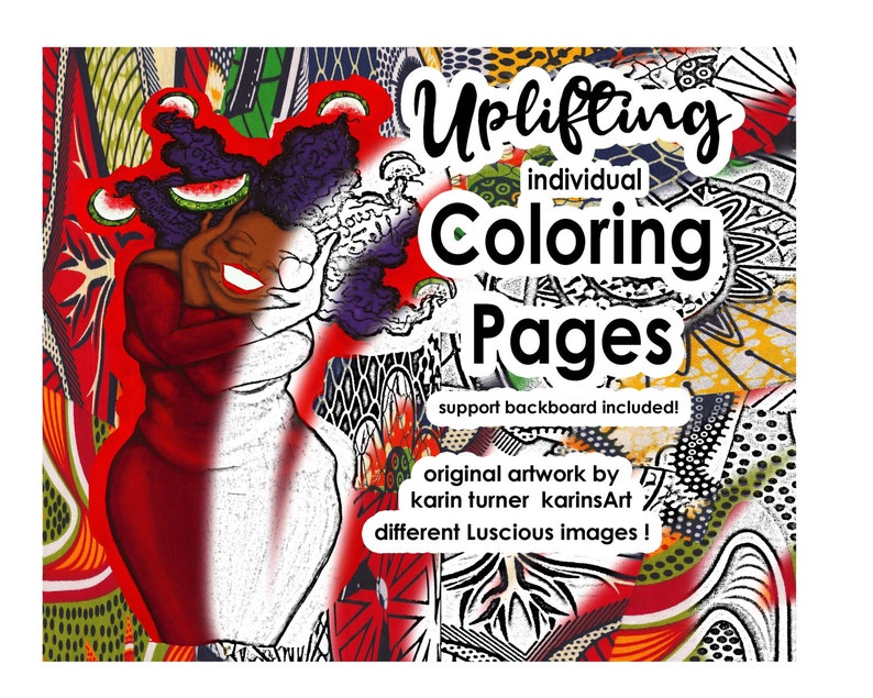 Uplifting Coloring Pages Self Care African American Women image 0