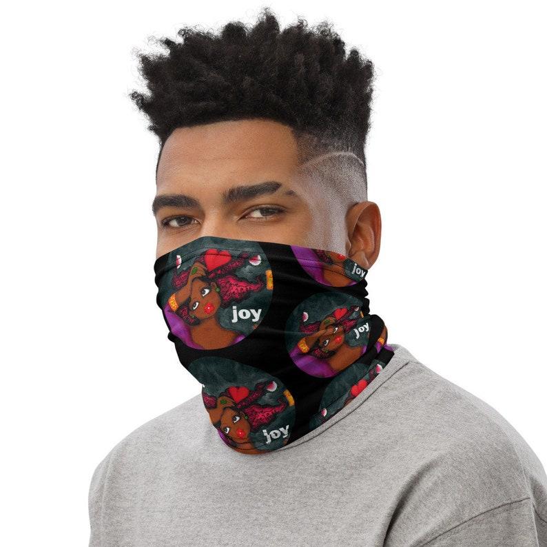 FACE MASK scarf JOY black karinsArt Neck Gaiter Unisex image 0