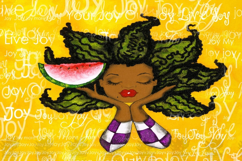 Prints:5x7 state of being JOY  Affirmation Natural Hair by image 0