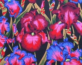 "2 yds.-  Bearded Iris in ""dark"" colors by Philip Jacobs, restocked"
