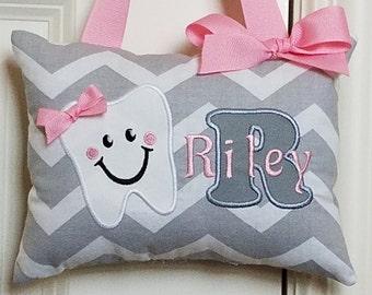 f8cf94cb69f760 Tooth Fairy Pillow - Gray Chevron Light Pink