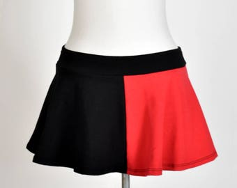 SAMPLE SALE: Size XL Cotton Black Red Harley Quinn Flared Skirt plus size stretch cosplay mini spandex