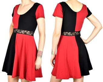 d2c6573e4 Red and Black Cotton Harley Quinn Skater Dress stretch spandex XS S M L XL  2XL cosplay short sleeve plus size costume lace waist flared mini