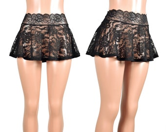 9115c1877e Black Lace Layering Skirt 4 LENGTH OPTIONS size XS S M L 2XL 3XL plus size  stretch lace waistband goth gothic sheer net lingerie flared mini