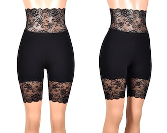 6940c410bc Super High-Waisted Black Stretch Lace Shorts (8.5